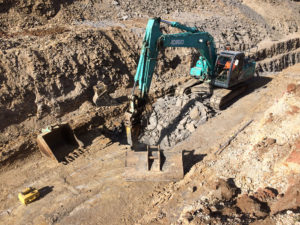 Sydney Water construction works: rock breaking