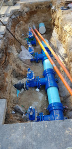 Connections to Sydney Water main under existing services.