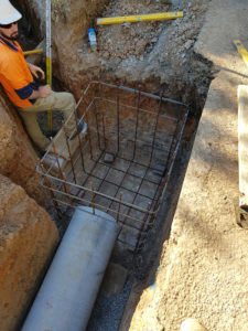 Excavation and caging of council stormwater pit