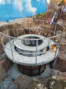 Large Manhole bveing formed up with safety features and forwork.
