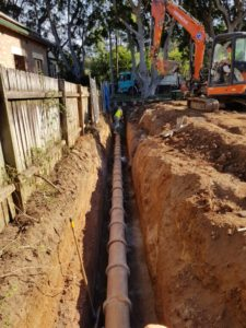 Sydney Water relined earthenware pipe exposed