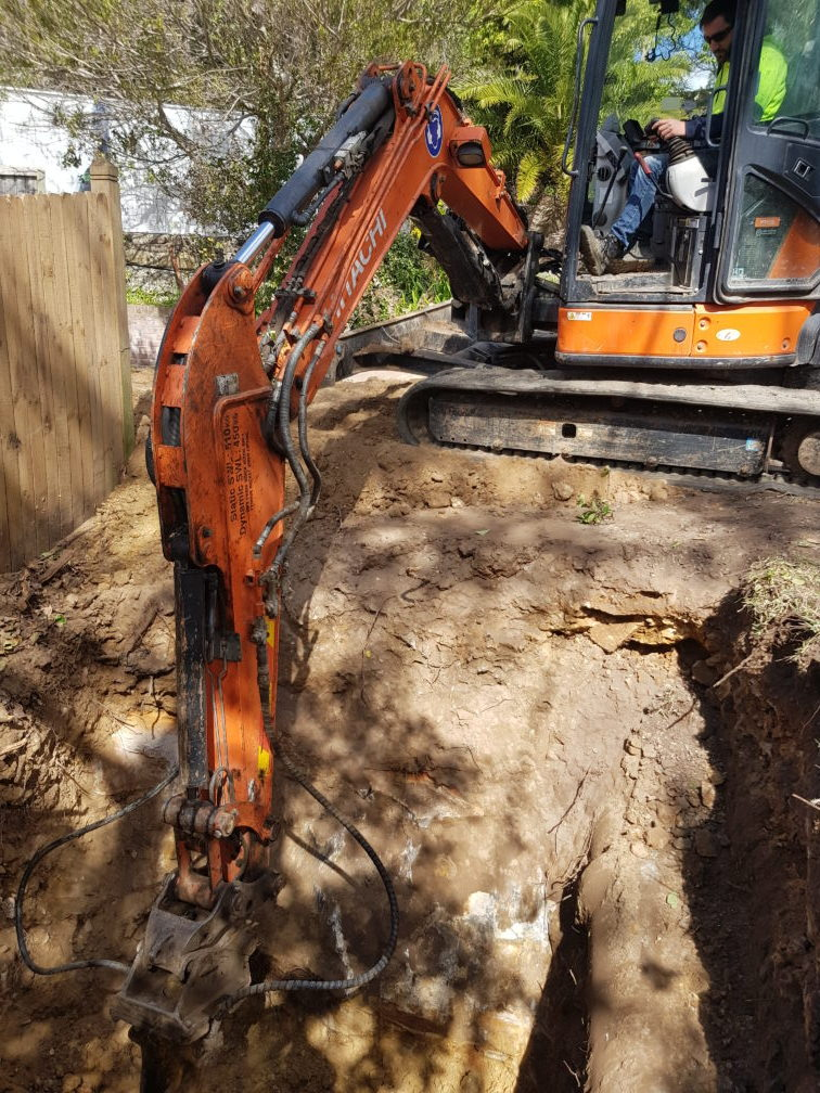 Manhole excavation as per Deemed To Comply Sydney Water Manholes requirement.