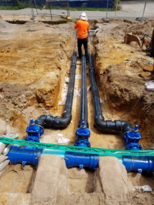 PE pipes, Cast Iron fittings and PVC watermain.